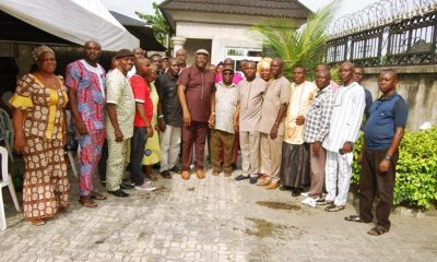Mr Tsola Wilkie (Center) in a Group Photograph with some PDP Leaders and Others in Warri South West Local Government Area after his return to PDP from APC