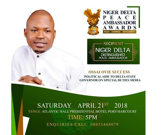 Ossai Ovie Success, Niger Delta Peace Ambassador Awardee