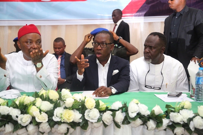 Delta State Governor, Senator Ifeanyi Okowa (middle); Senator Peter Nwaoboshi (left) and PDP Chairman, Delta North Senatorial District, Chief Moses Iduh, during PDP Delta North Meeting, held in Asaba.