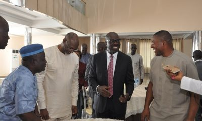 Edo State Governor, Mr. Godwin Obaseki (second right), Representative of the Speaker, Edo State House of Assembly and Majority Leader, Hon. Asoro Roland (right); Chairman, Edo State Chapter of All Progressives Congress (APC), Barr. Anselm Ojezua (second left); and the Secretary, Edo State APC, Mr. Lawrence Okah (left), during the Edo State APC Executive Retreat in Benin City, on Friday, June 8, 2018.
