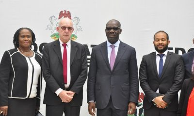 Edo State Governor, Mr. Godwin Obaseki (second right); Regional Director for West and Central Africa, International Organization for Migration (IOM), Mr. Richard Danziger (second left); Commissioner for Justice and Chairman, Edo State Taskforce Against Human Trafficking, Prof. Yinka Omorogbe (left); and Abraham Tamrat of IOM (right); during the courtesy visit by officials of IOM to the Government House, Benin City, on Wednesday, June 13, 2018.