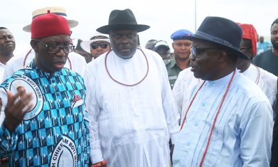 From left; Delta State Governor, Senator Ifeanyi Okowa; former Governor of Delta State, Chief James Ibori and the Immediate Past Governor of Delta State, Dr. Emmanuel Uduaghan, during a day of Tribute, in Hounor of Late High Chief William Ibori, in Oghara Delta State.