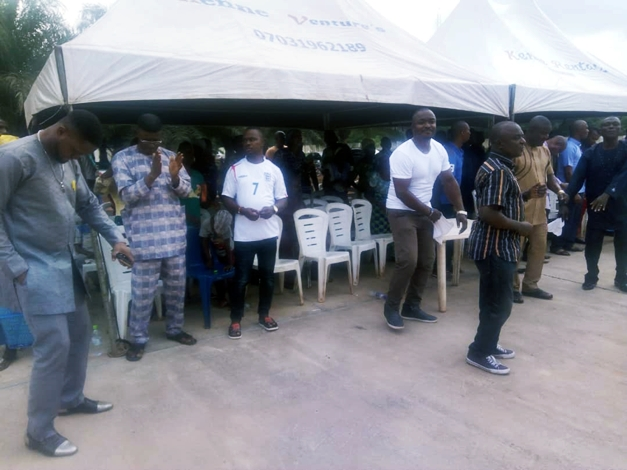 Hon Festus Okoh and Personal Aides during a Praise  Prayers section at his Residence