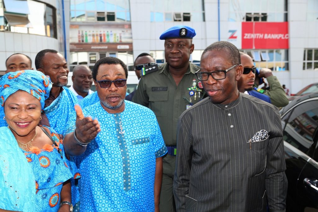 From right; Delta State Governor, Senator Ifeanyi Okowa ; Chairman, Delta State Sports Commission, Tonobok Okowa and Mrs. Chinoyen Edafe, at the Farewell Visit/Prayer Session for Team Delta, in Preparation of the 19th National Sports Festival